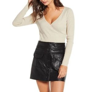 Leith Ribbed Wrap Sweater Long Sleeve- xs